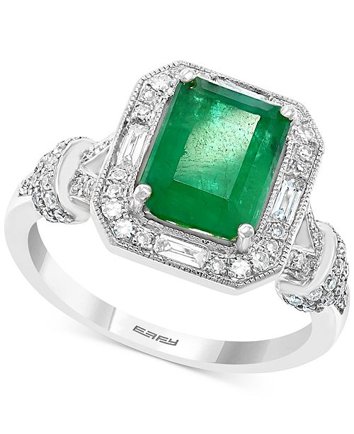 EFFY Collection EFFY® Emerald (2 ct. t.w.) & Diamond (3/8 ct. t.w.) Ring in 14k White Gold