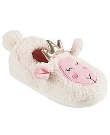 Little and Toddler Girls Lamb Plush Slippers