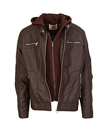 Big Boys  Zip Front Vegan Leather Updated Moto with Quilted Design Sleeve Details, Fleece Bib and Hood