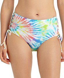 Juniors' Tie-Dye Printed Lace-Up High-Waist Bikini Bottoms, Created For Macy's