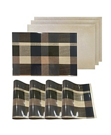 """Reversible Metallic Place Mats Non-Slip Plaid Checker Dining Table 12"""" x 18"""" Placemats - Set of 4"""