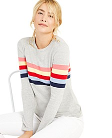 Shoulder Button Striped Sweater, Created For Macy's