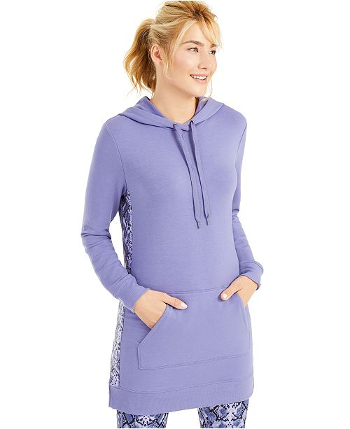 Ideology Printed-Panel Long Hoodie, Created For Macy's