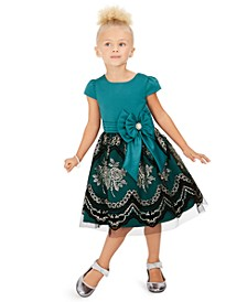 Little Girls Glitter-Print Bow Dress