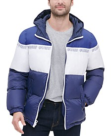 Men's Colorblock Hooded Logo Puffer Jacket