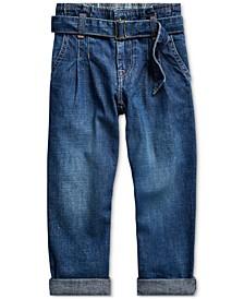 Little Girls Cotton Denim Paperbag Jeans