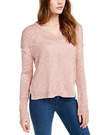 Juniors' Reversible Button-Back Sweater