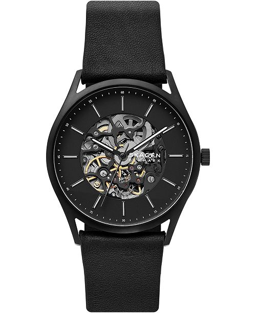 Skagen Men's Automatic Holst Black Leather Strap Watch 40mm, A Limited Edition