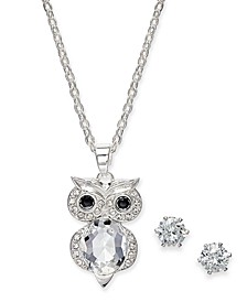 Silver-Tone 2-Pc. Set Crystal Owl Pendant Necklace & Solitaire Stud Earrings, Created for Macy's