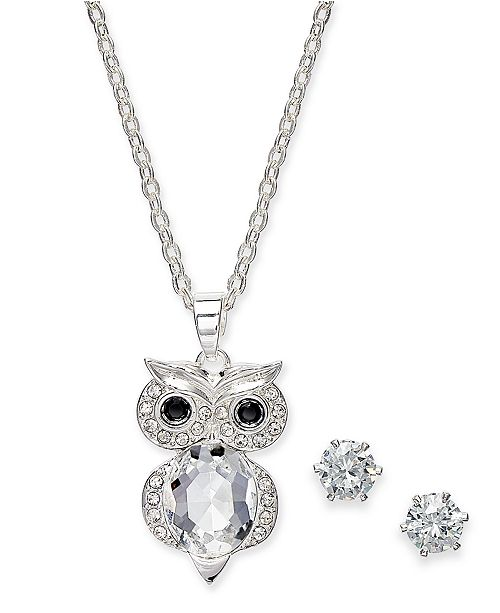 Charter Club Silver-Tone 2-Pc. Set Crystal Owl Pendant Necklace & Solitaire Stud Earrings, Created for Macy's