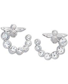 Swarovski Crystal Bee Front & Back Hoop Earrings