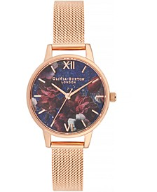 Women's Semi-Precious Rose Gold-Tone Stainless Steel Mesh Bracelet Watch 30mm