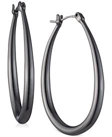 """Hematite-Tone Medium Teardrop Hoop Earrings, 1.3"""""""