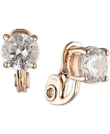 Rose Gold-Tone Crystal Clip-On Earrings