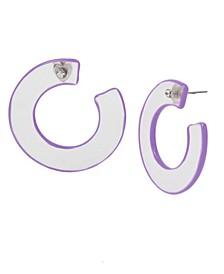 """Medium Purple Translucent Hoop Earrings 1-1/2"""""""