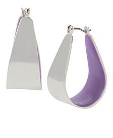 """Medium Sculptural Wide Purple Colored Hoop Earrings 1-1/4"""""""