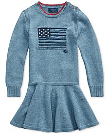 Toddler Girls Intarsia-Flag Cotton Dress