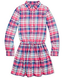 Big Girls Plaid Cotton Twill Dress