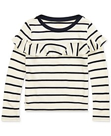 Little Girls Striped Ruffled Cotton-Modal Top