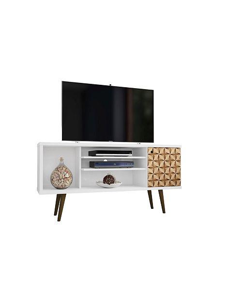 "Manhattan Comfort Liberty 53.14"" Mid Century - Modern TV Stand with 5 Shelves and 1 Door"