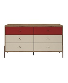 """Joy 59"""" Wide Double Dresser with 6 Full Extension Drawers"""