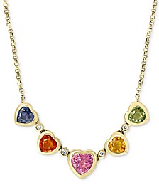 "EFFY® Multi-Sapphire (1-7/8 ct .t.w.) & Diamond Accent Heart Collar Necklace in 14k Gold, 16"" + 2"" extender"