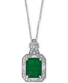 "Emerald (2 ct. t.w.) & Diamond (1/4 ct. t.w.) 18"" Pendant Necklace in 14k White Gold (Also available in 14k Yellow Gold)"