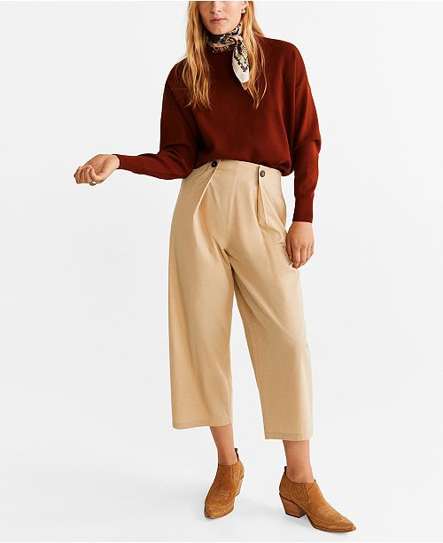 MANGO Pleated Culotte Trousers