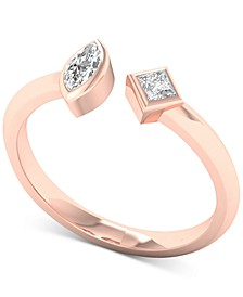 Diamond Marquise & Princess Cuff Ring (1/5 ct. t.w.) in 10k Rose Gold