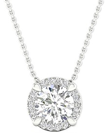 "Diamond Halo Cluster 18"" Pendant Necklace (7/8 ct. t.w.) in 14k White Gold"