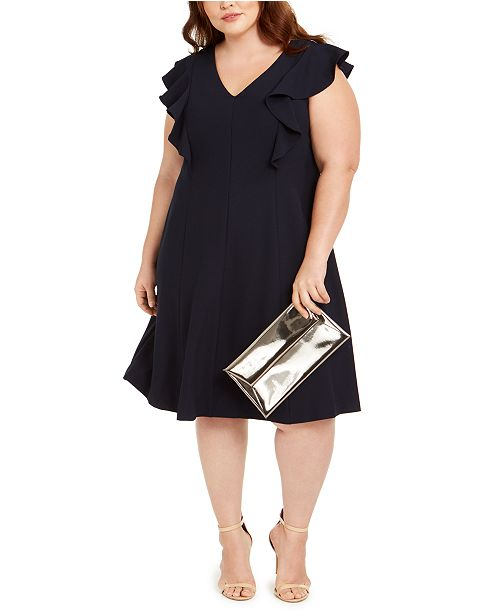 Jessica Howard Plus Size Ruffled A-Line Dress