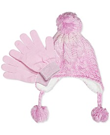 Little Girls 2-Pc. Ombré Hat & Gloves Set