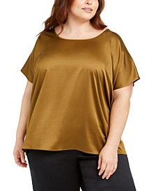 Plus Size Scoop-Neck Satin Top