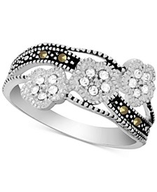Genuine Swarovski Marcasite & Crystal Flower Ring in Fine Silver-Plate