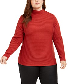 Plus Size Wool Ribbed Funnel-Neck Sweater
