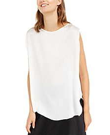 Silk Sleeveless Rounded-Hem Top