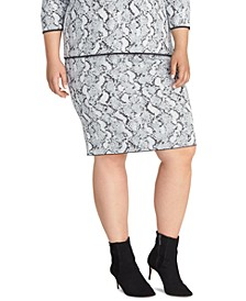 Trendy Plus Size Lindey Snake-Embossed Sweater Skirt