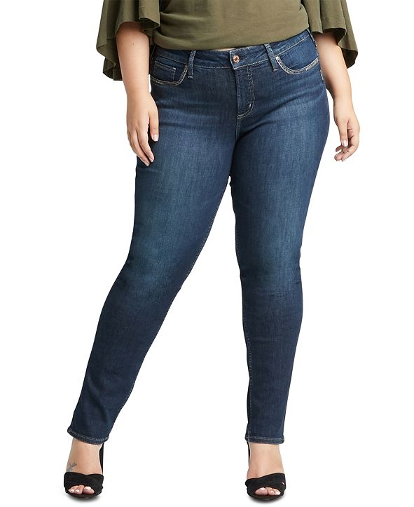 Silver Jeans Co. Plus Size Elyse Curvy-Fit Straight-Leg Jeans