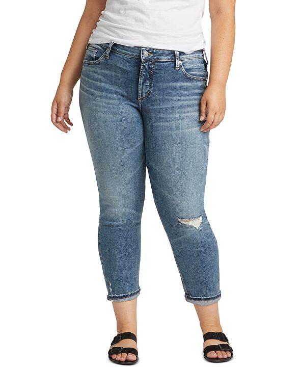 Silver Jeans Co. Plus Size Ripped Boyfriend Jeans