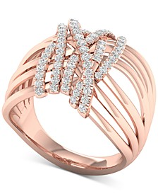 Diamond Multi-Row Statement Ring (3/8 ct. t.w.) in 10k Rose Gold