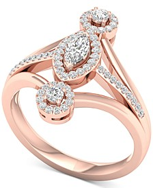 Diamond Marquise Halo Statement Ring (1/2 ct. t.w.) in 14k Rose Gold