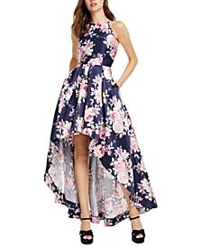 Juniors' Floral-Print Mikado High-Low Dress