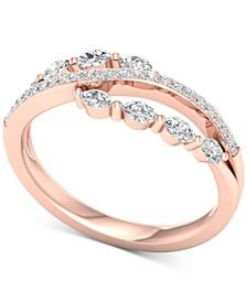 Diamond Split Shank Statement Ring (1/2 ct. t.w.) in 14k Rose Gold