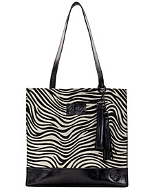 Zebra Haircalf Toscano Tote with Tassel