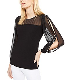 INC Faux-Pearl-Sleeve Top, Created For Macy's