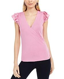 INC Ruffle-Sleeve Surplice Top, Created For Macy's