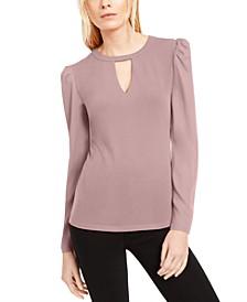INC Keyhole Puff-Sleeve Blouse, Created For Macy's