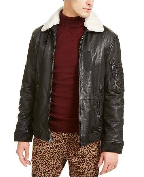 INC International Concepts INC ONYX Men's Leather Aviator Jacket with Faux Fur Collar, Created For Macy's