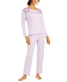 Women's Floral Embroidered Pajama Set, Created For Macy's