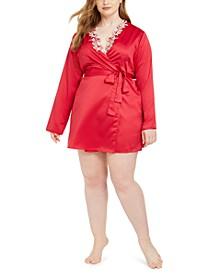 Plus Size Lace-Trim Wrap Robe